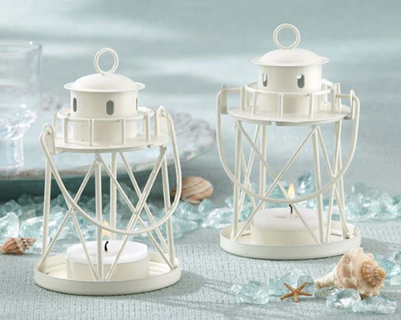 White Metal Lighthouse Shaped Lanterns