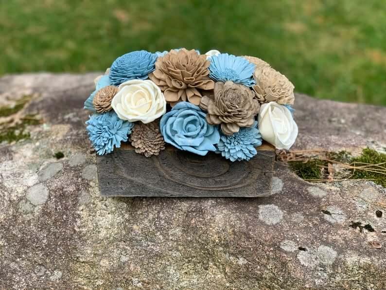 Rustic Coastal Flower Box Centerpiece