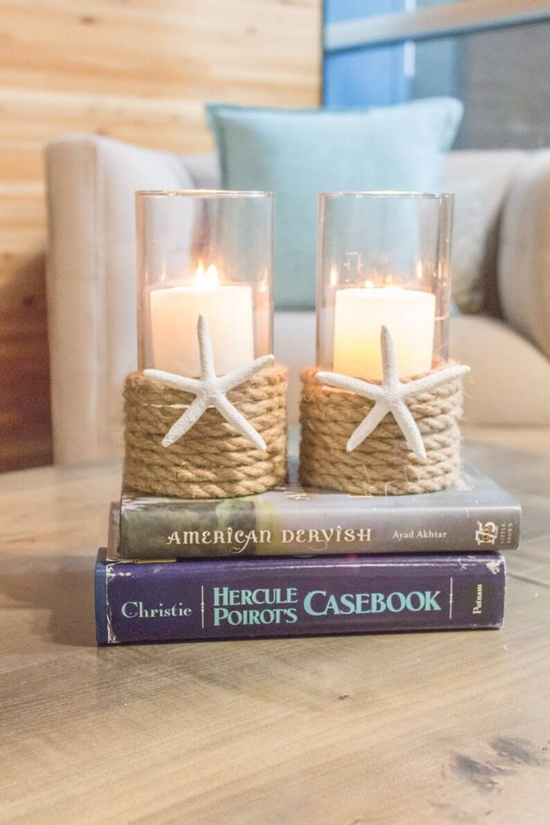 Rope Wrapped Starfish Glass Candle Holders