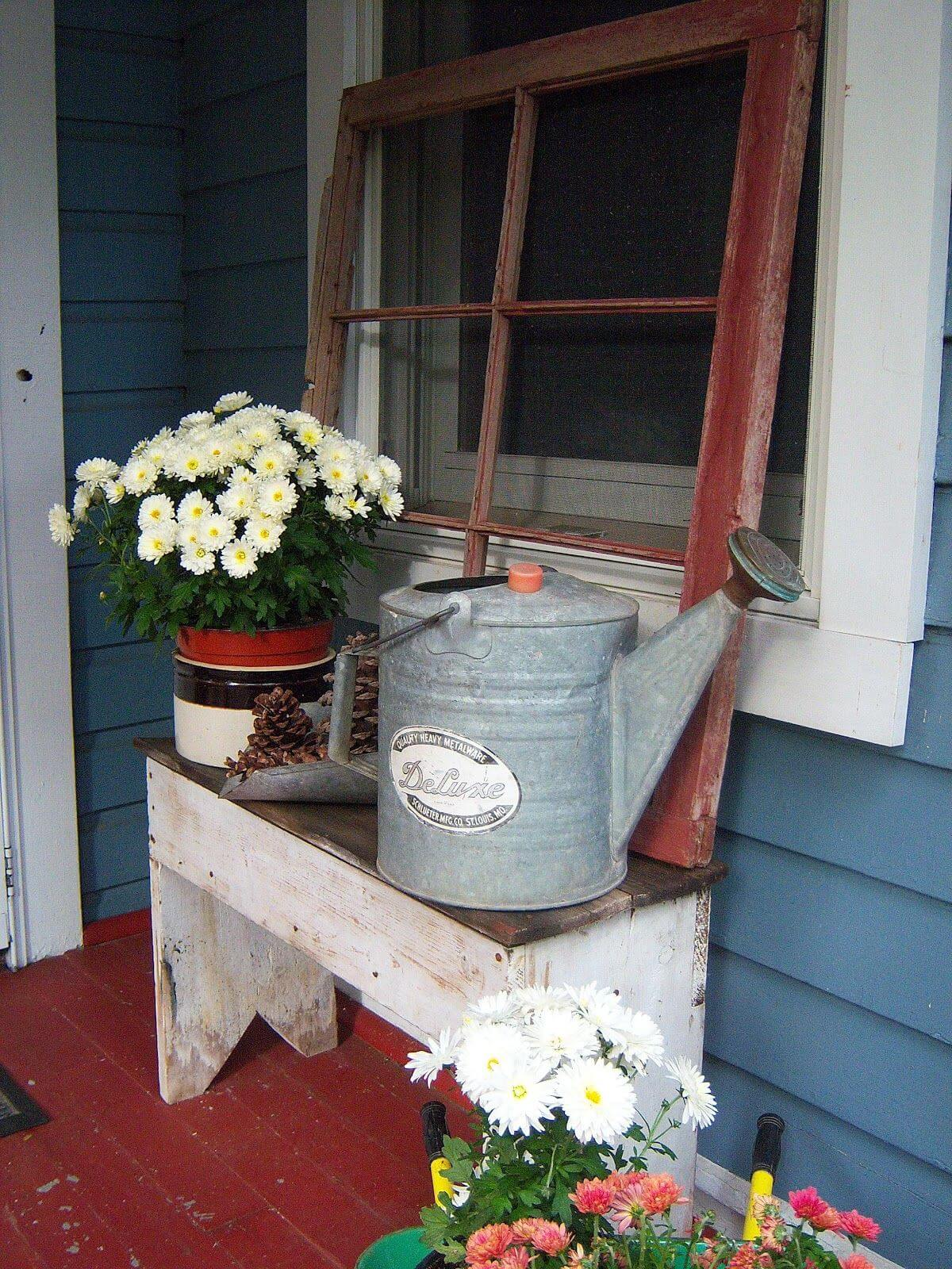 Window Pane and Watering Can Porch Display