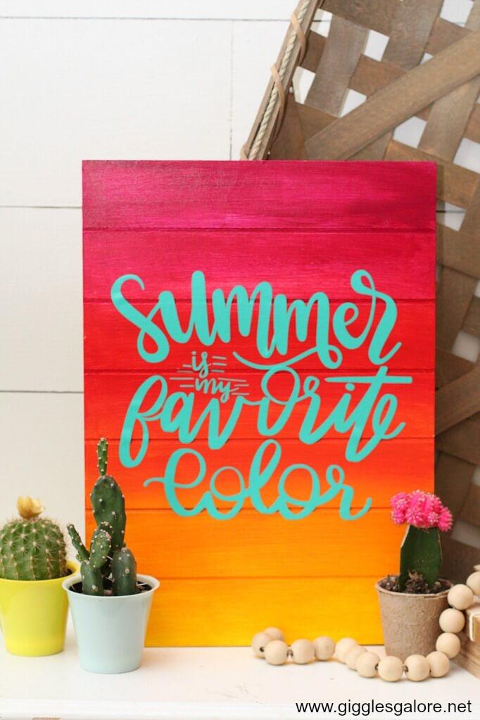 DIY Summer is My Favorite Color Outdoor Wall Art