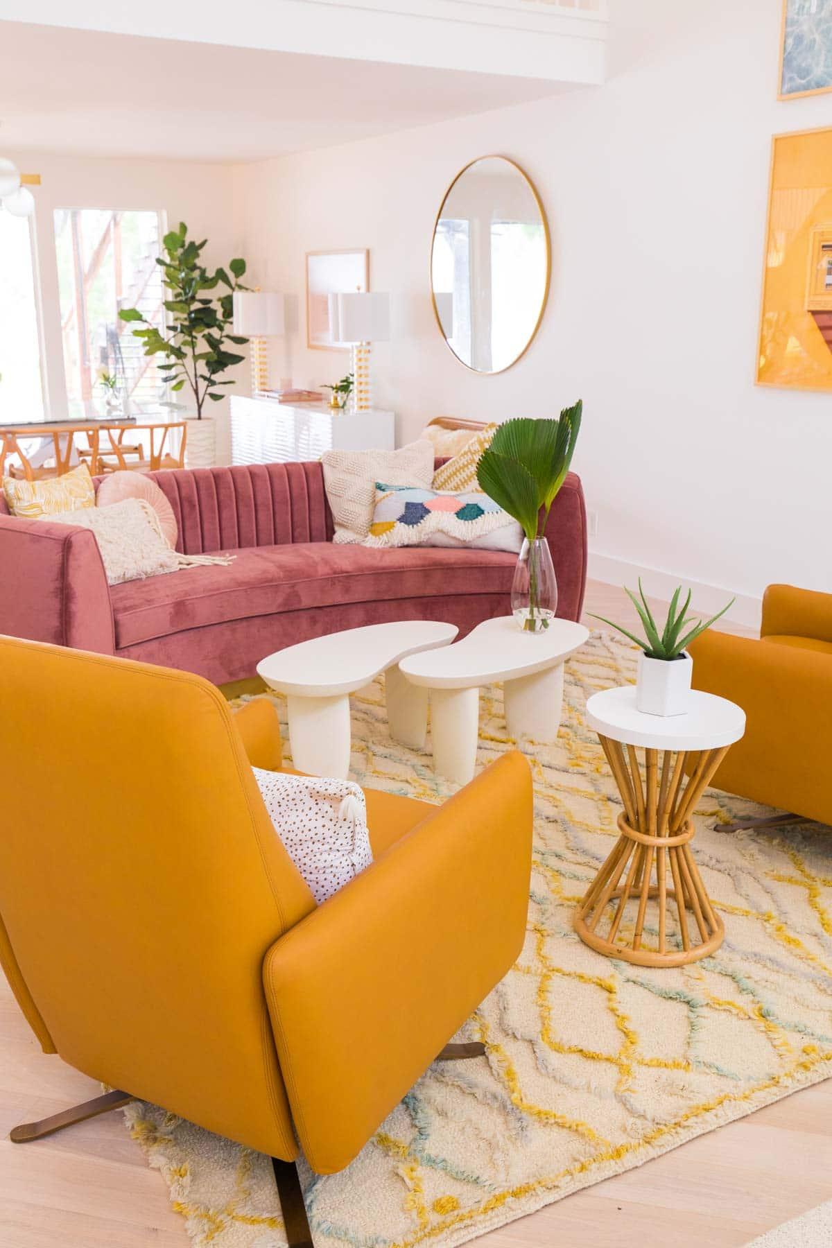 Modern Yellow Wingbacks and a Sofa
