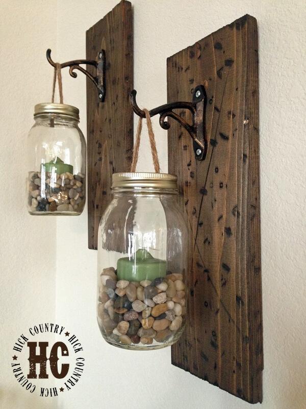 Rustic Mason Jar Hanging Wall Lanterns