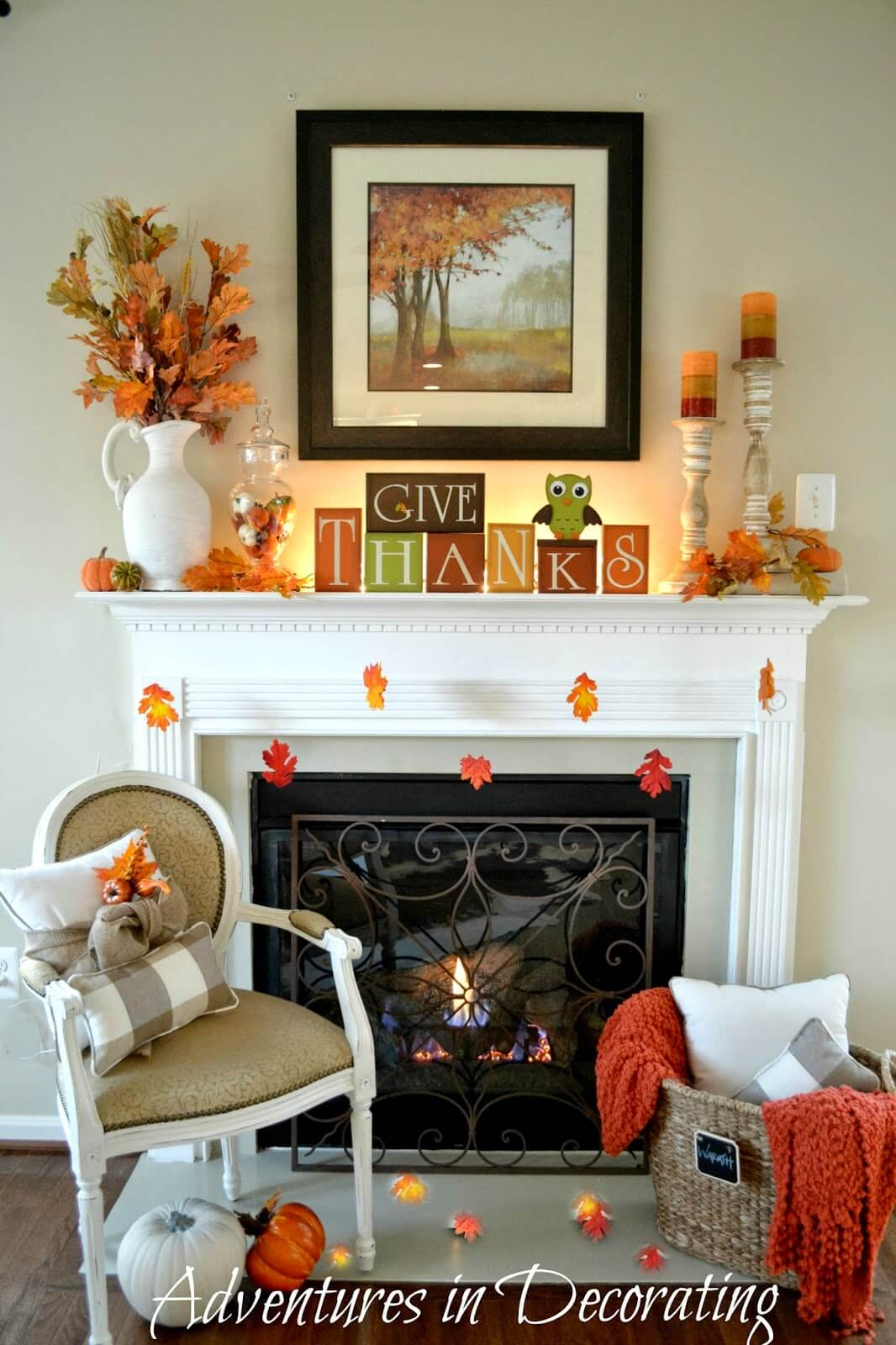 A Natural Autumn Fireplace Display in Orange