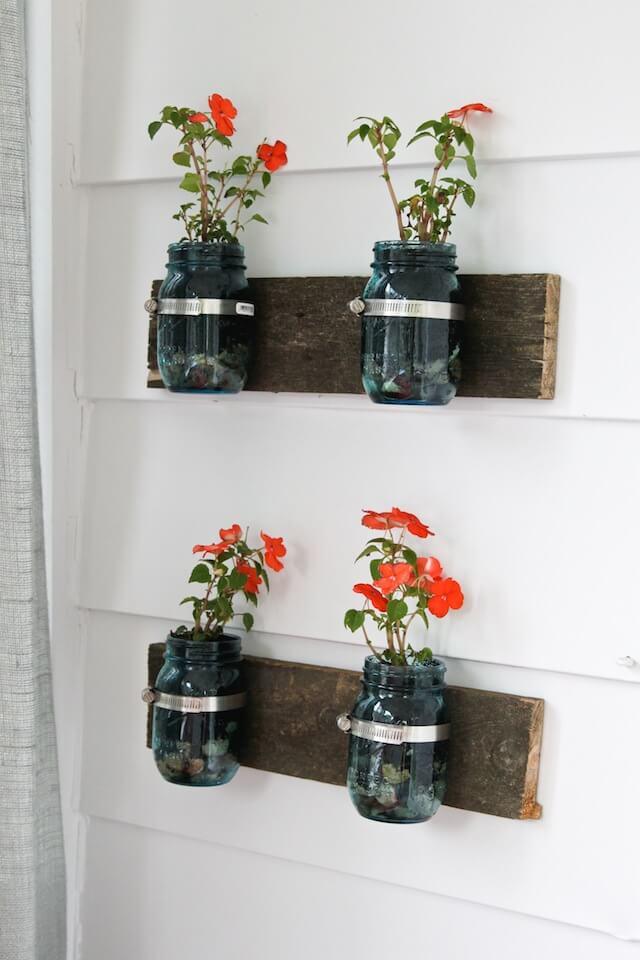Adorable Colored Mason Jar Wall Vases