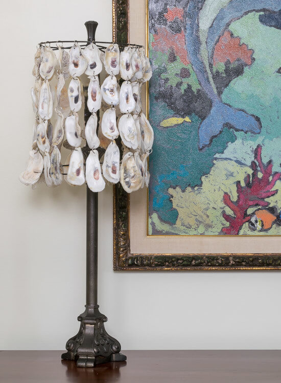 Chain Linked Oyster Shell Lamp Shade