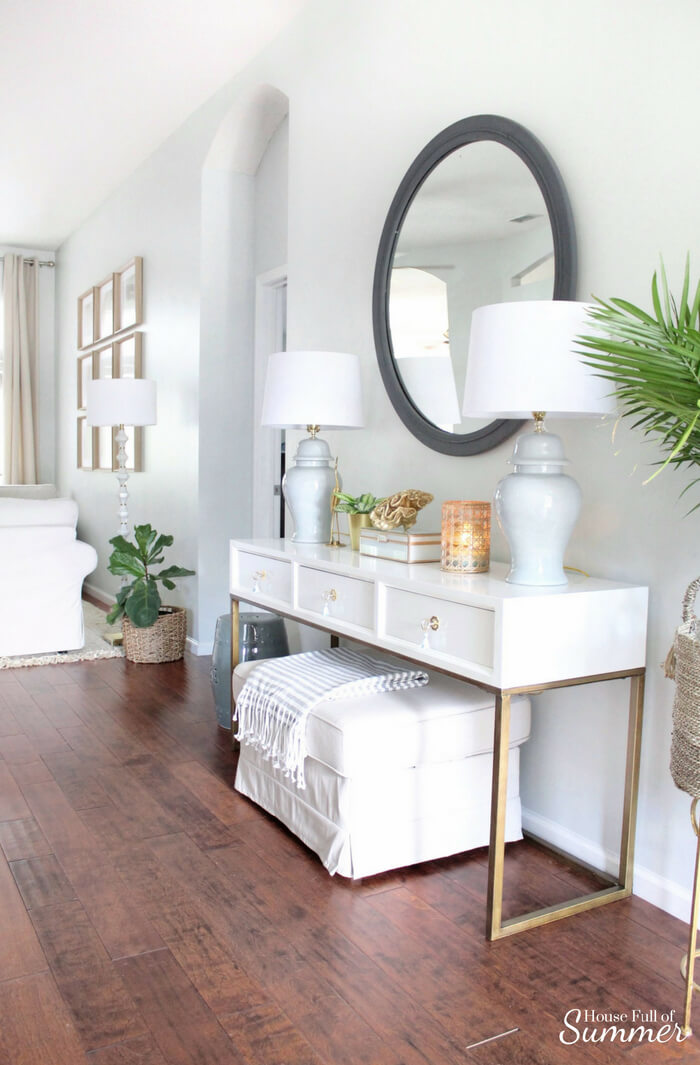 Sophisticated Serene White and Gold Entry Table