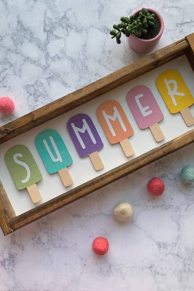 DIY Pastel Popsicle Summer Sign