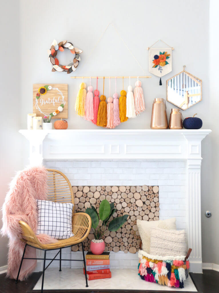 Colorful and Funky Fireplace Decor