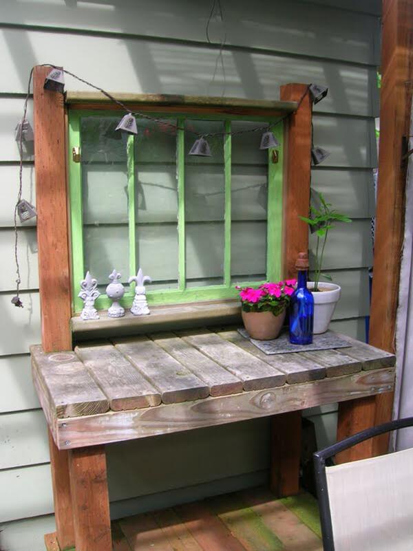Eclectic Vintage Window Outdoor Garden Station