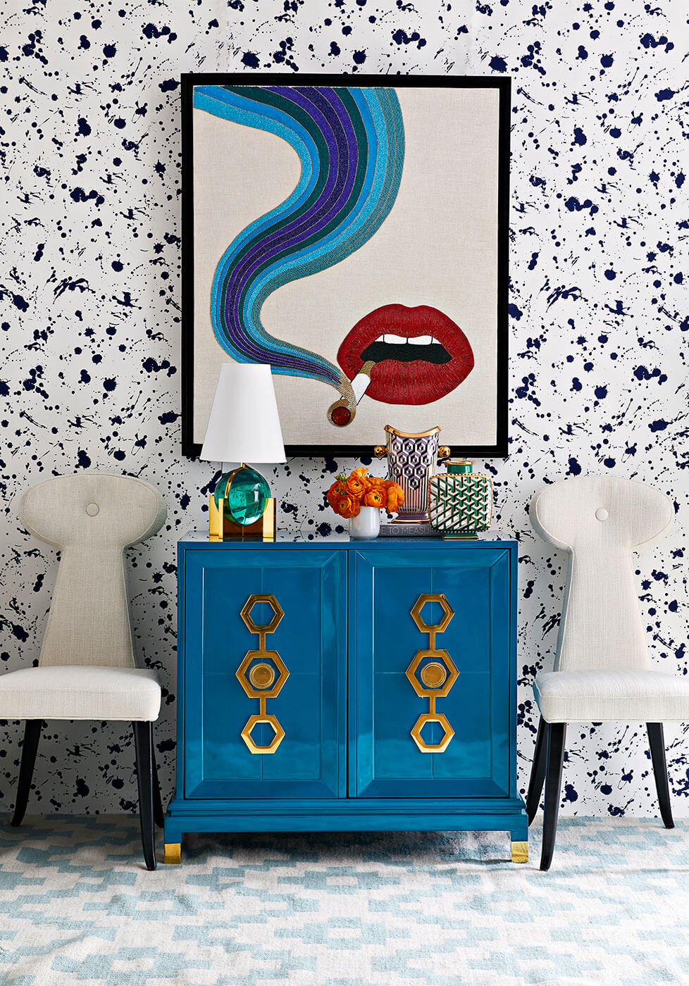 Custom Wall Art with a Freestanding Cabinet