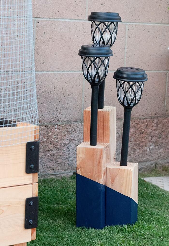 Nautical Wooden Trio Solar Light Yard Decoration