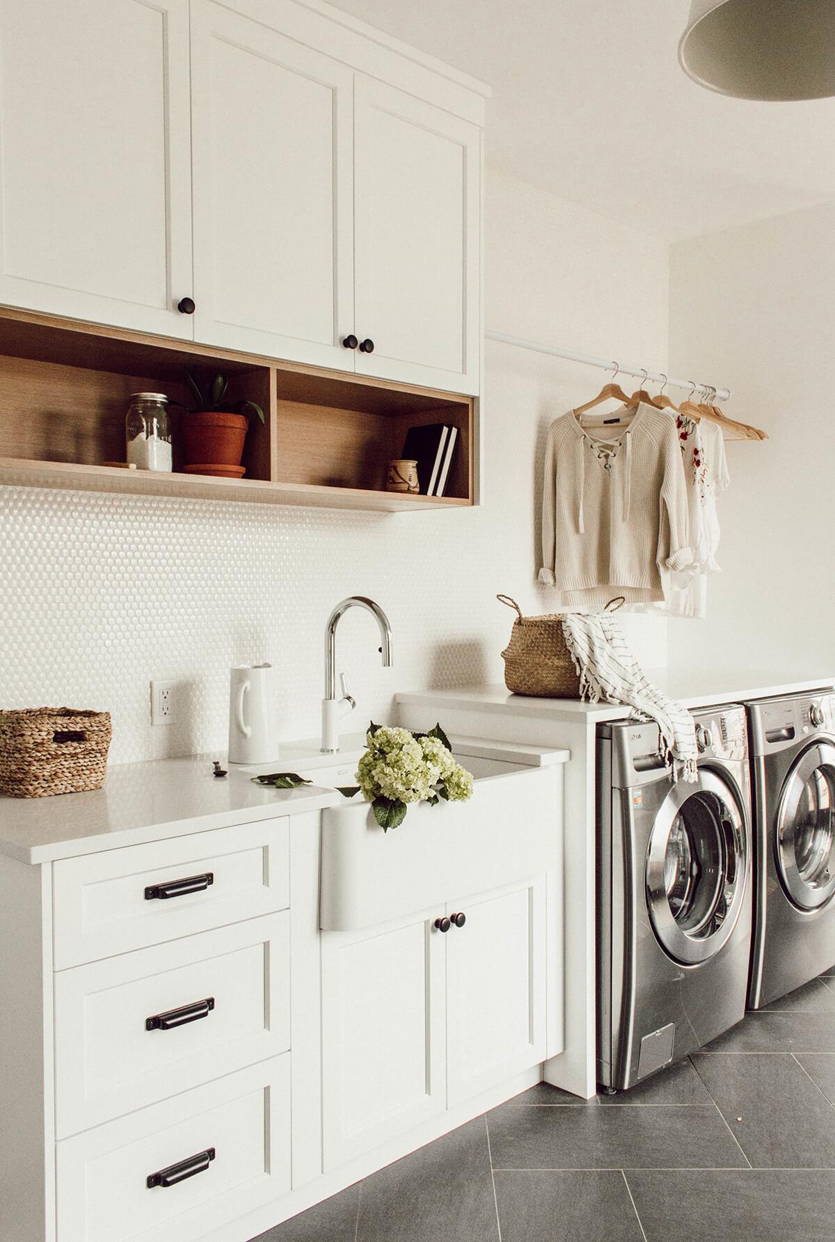Laundry Room Penny Tile Backsplash