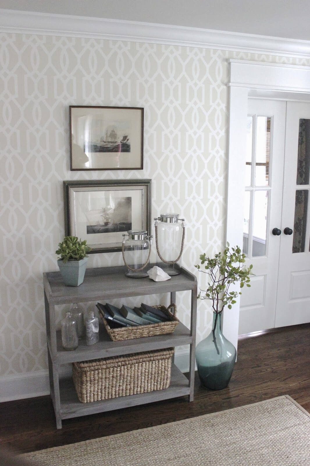 Three Shelf Neutral-Colored Rustic Table