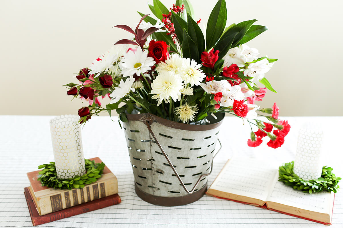 Rustic Galvanized Bucket Flower Arrangement