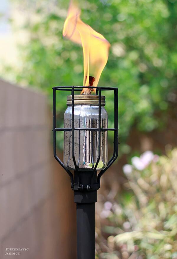 Metal Cage Industrial Tiki Torch Backyard Light