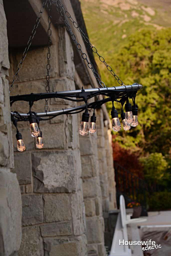 Old West Saloon Hoop Chandelier Outdoor Light