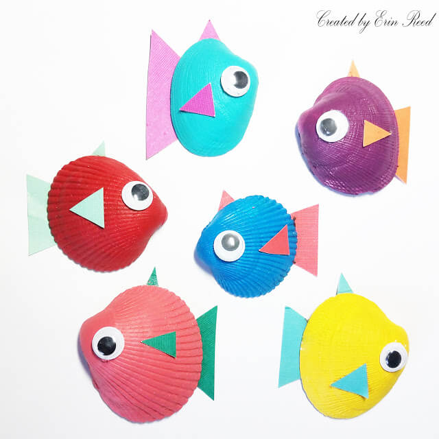 Bright and Bold Tropical Fish Shell Craft