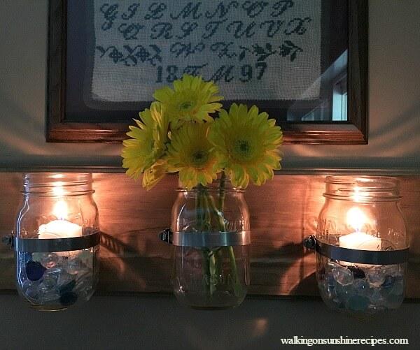Mounted Mason Jar Wall Vases on Wood