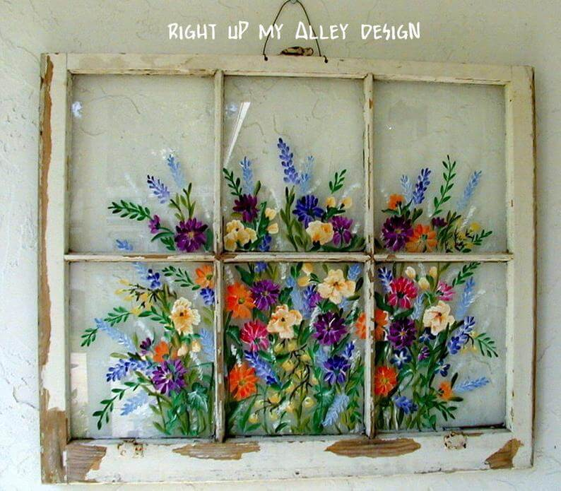 Beautifully Hand Painted Floral Window Wall Art