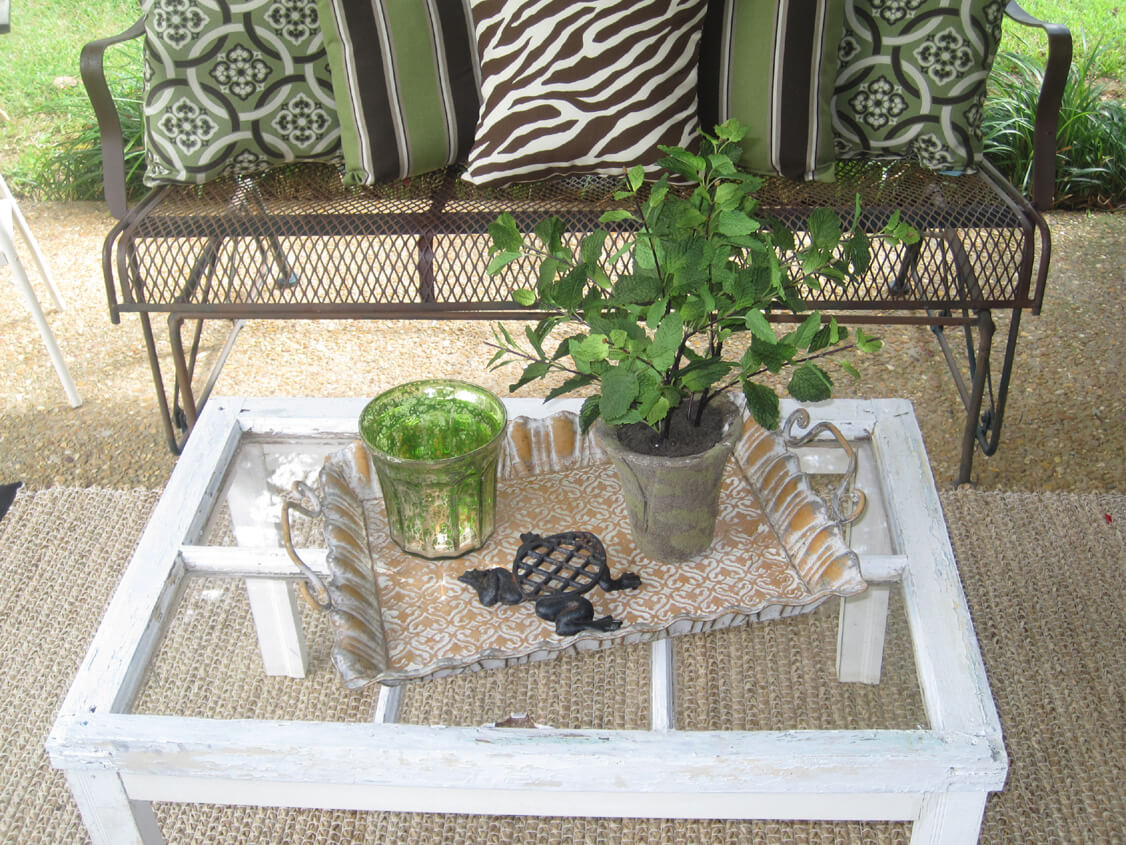 Old Window Transformed Outdoor Accent Table