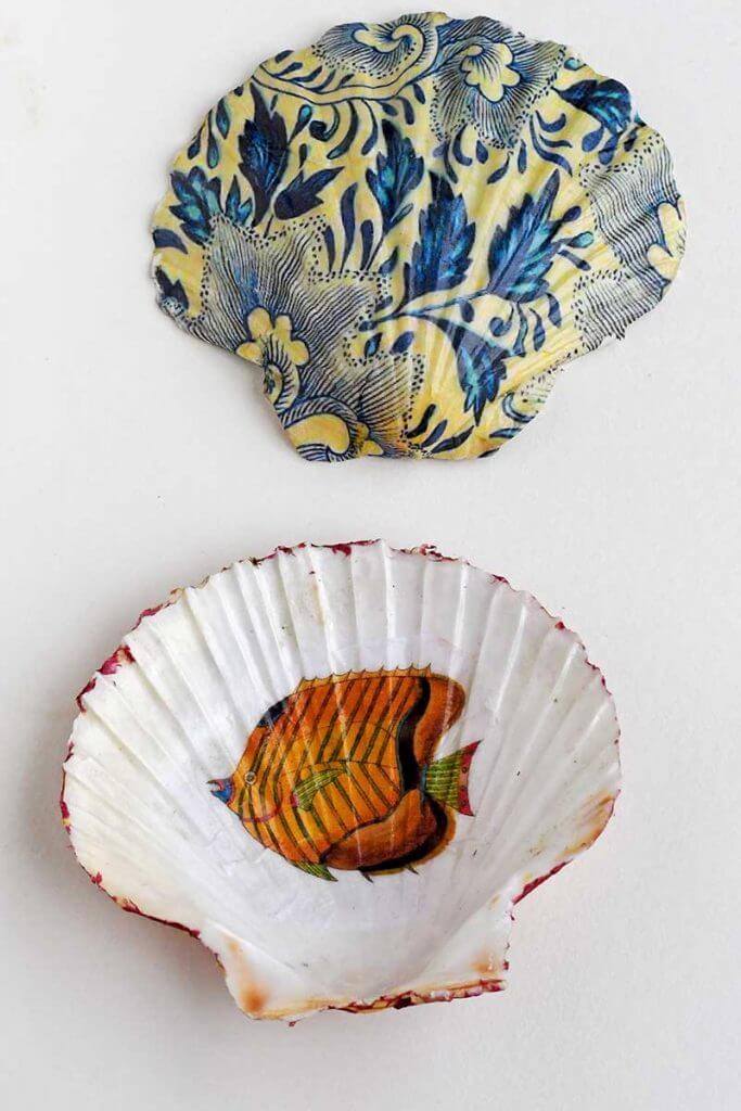 Unique Decoupage Scallop Shell Dish Decoration