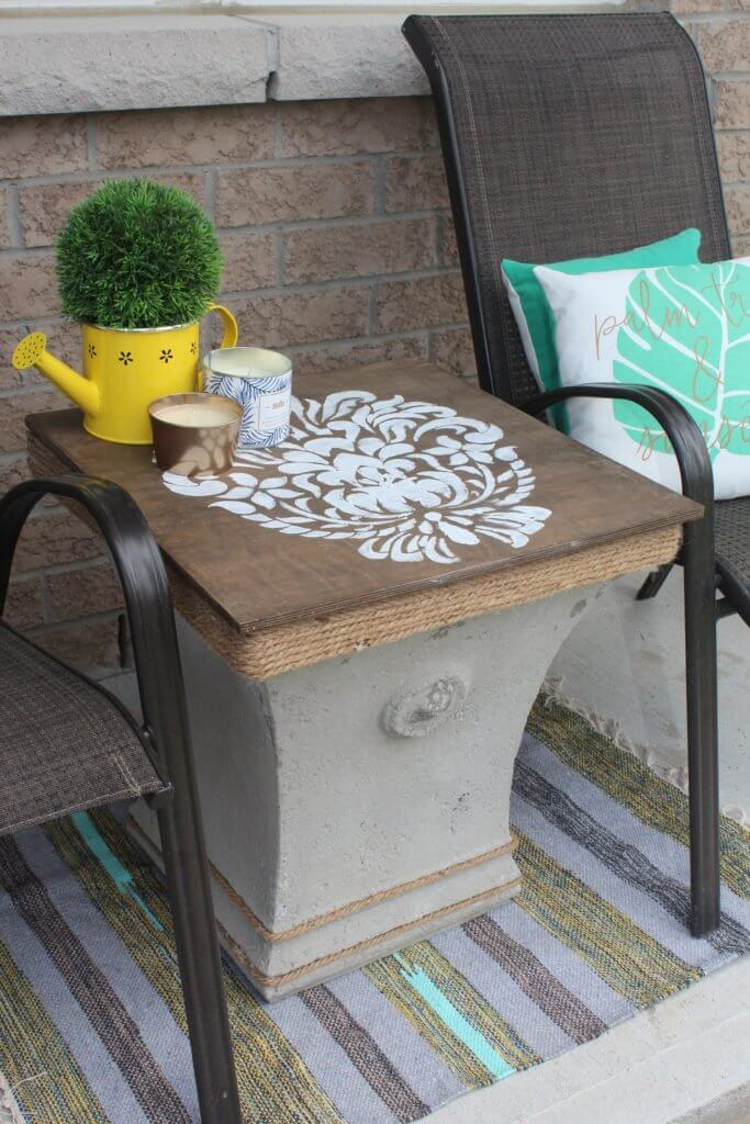 Stencil and Twine Repurposed Patio Side Table
