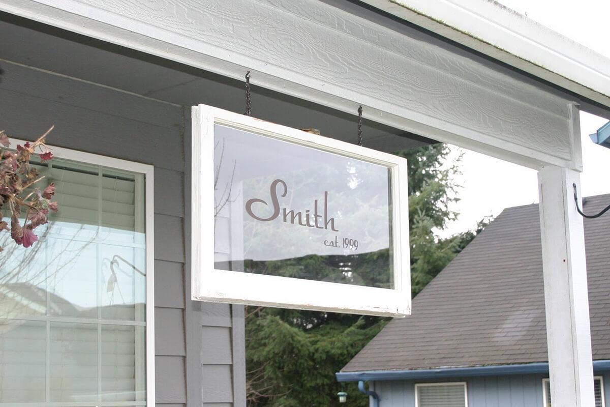 Repurposed Etched Glass Window Pane Decor
