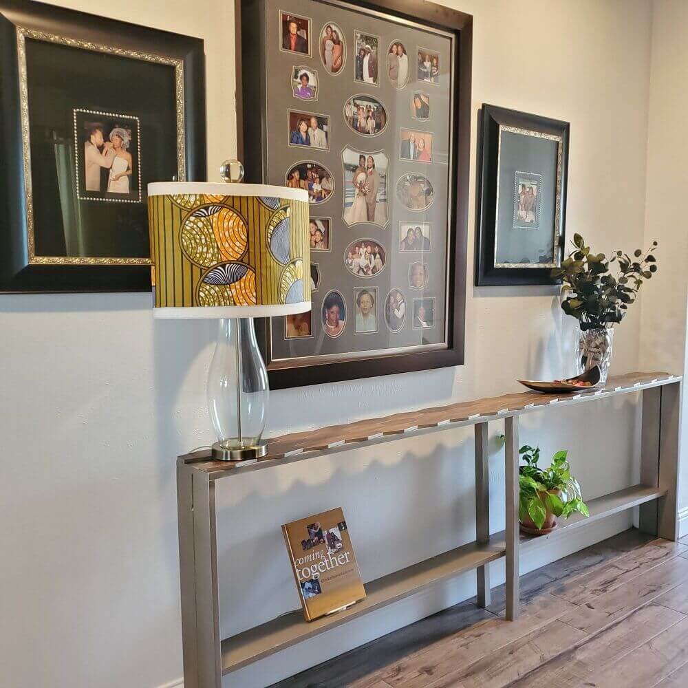 Extended Console Table with Geometric Top