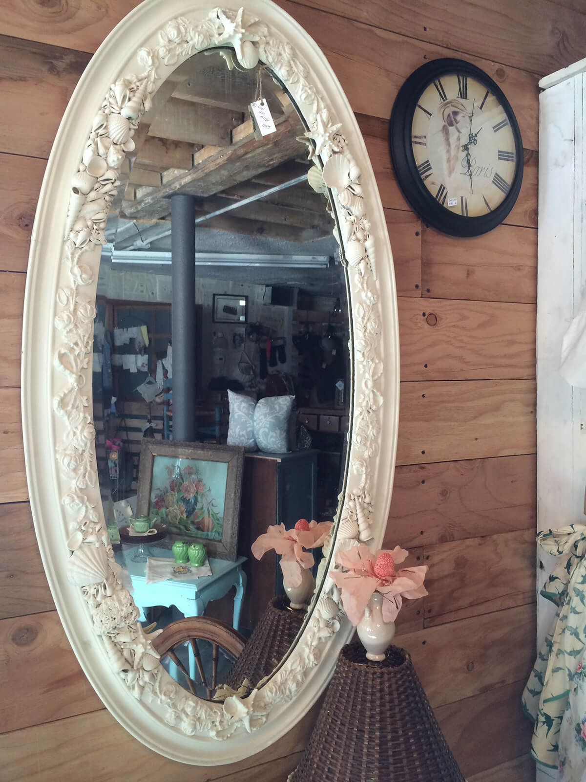 Antique Sea Shell Studded Oval Mirror