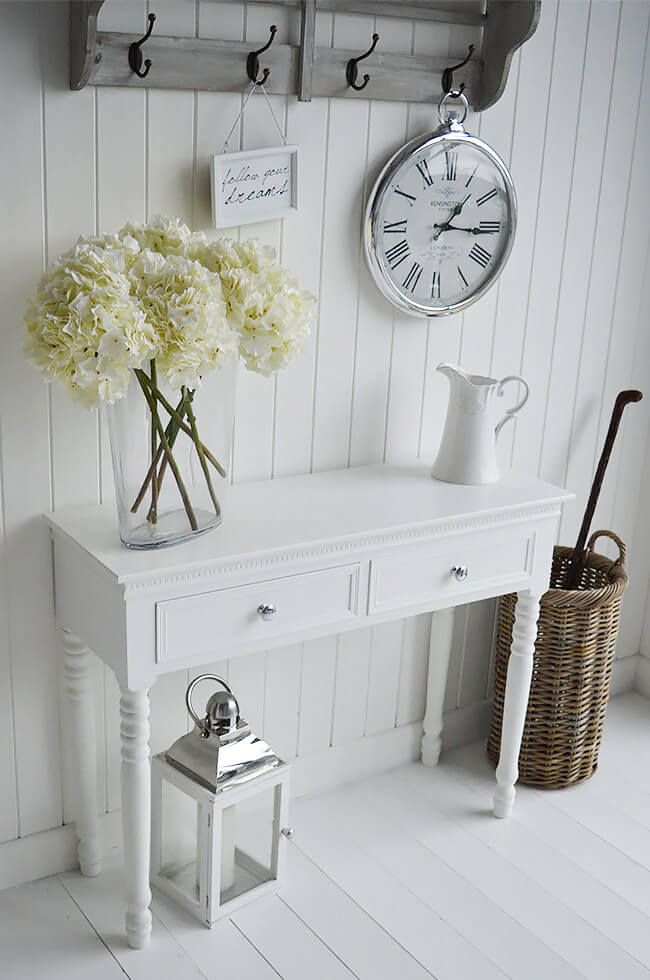 Two Drawer White Console Table