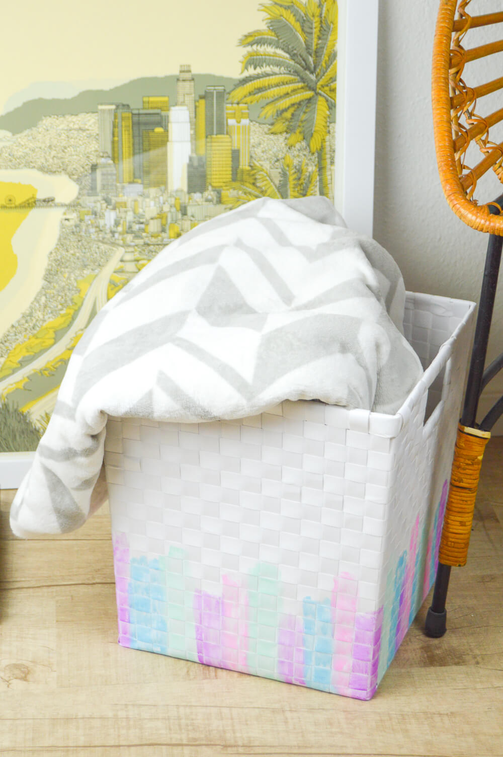 Pretty Painted Woven Catchall Bin