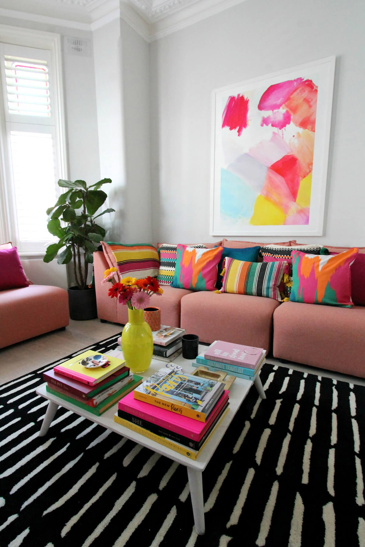 Bold and Bright Modern Colorful Living Room