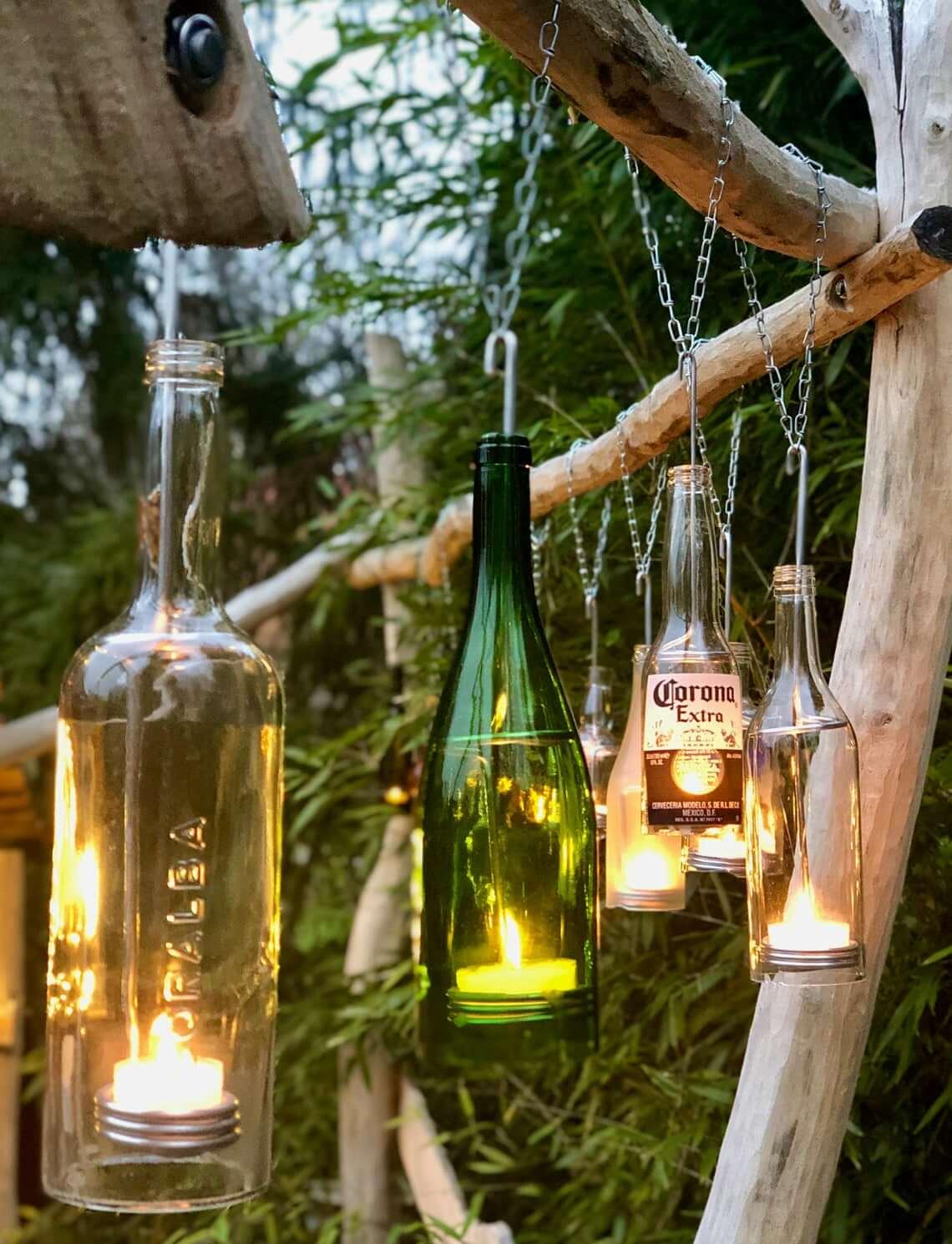 Hanging Glass Bottle Tea Light Display