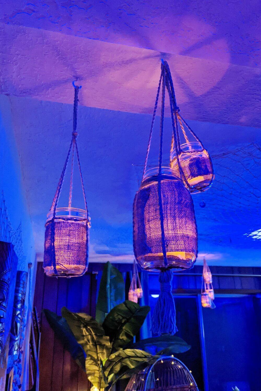 Overhead Hanging Glass Jar and Burlap Light