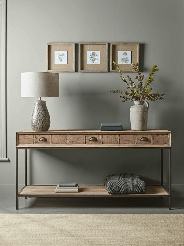 Reclaimed Oak Wood Console Table