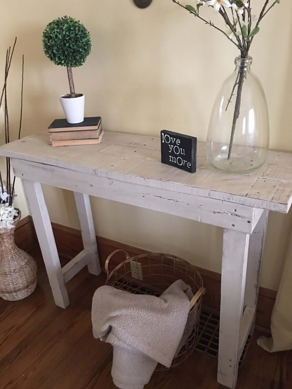 Farmhouse Style White Painted Entry Table