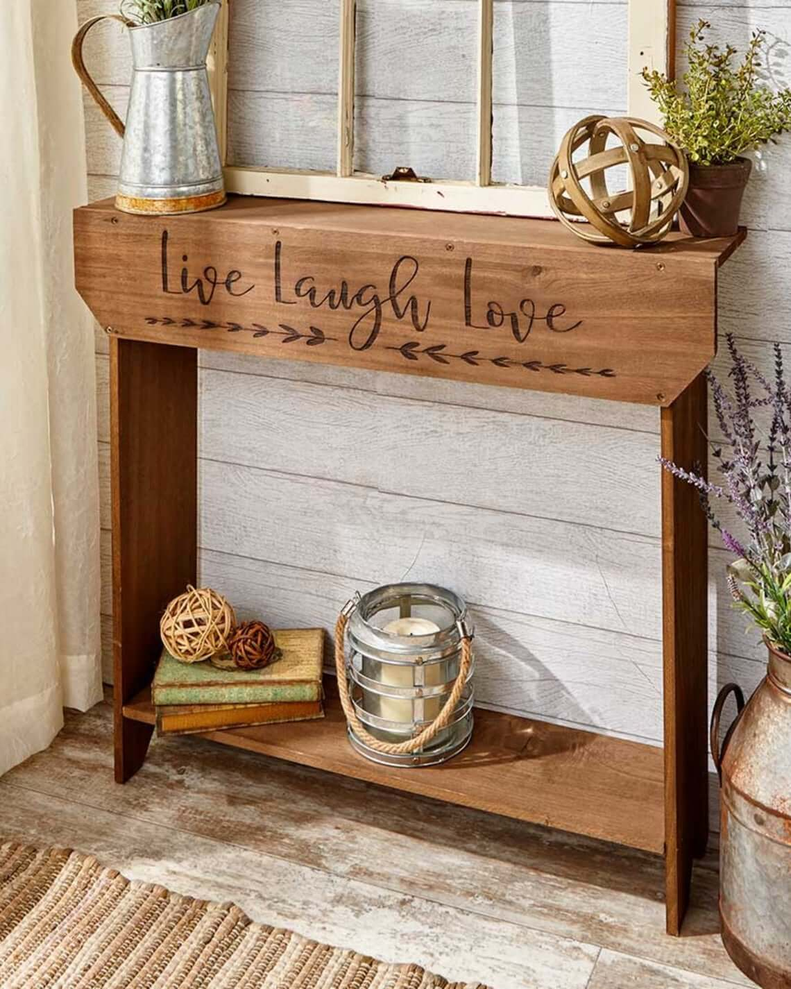 Sentimental Wooden Table with Lettering