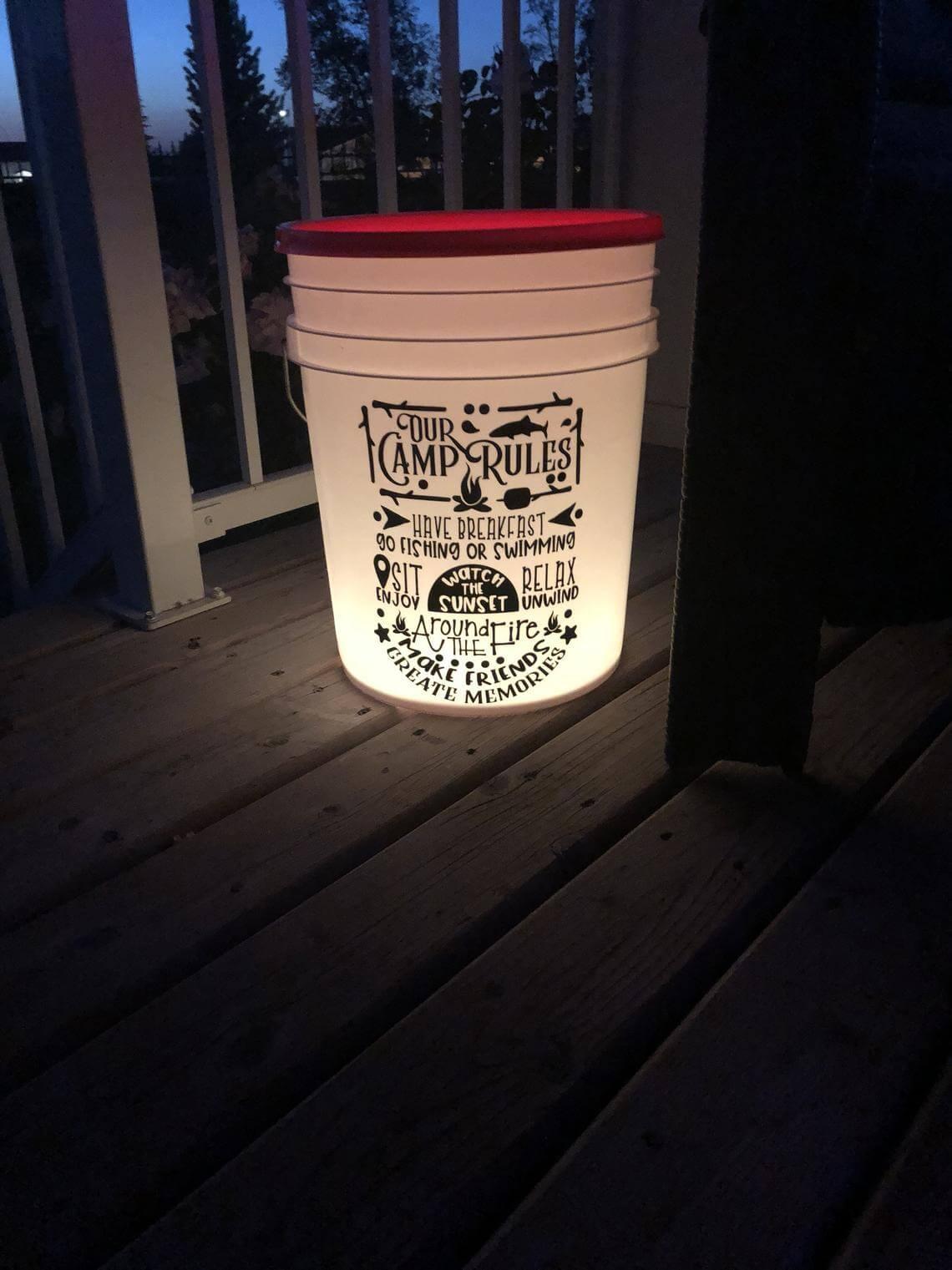 Vinyl Lettering Camp Rules Illuminated Bucket