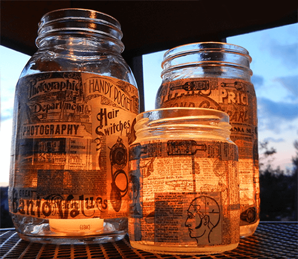 Newspaper Decoupage Glass Jar Outdoor Lighting