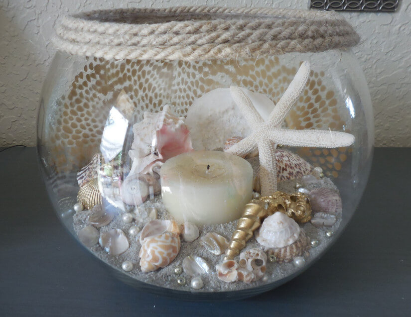 Sand and Sea Shell with Candle Centerpiece