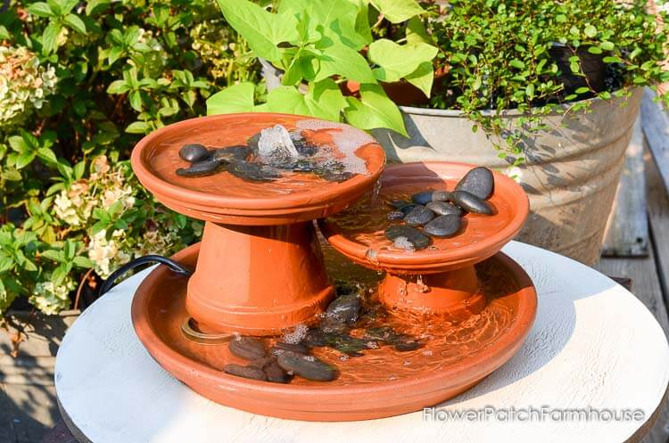 DIY Backyard Planter Rock and Water Feature
