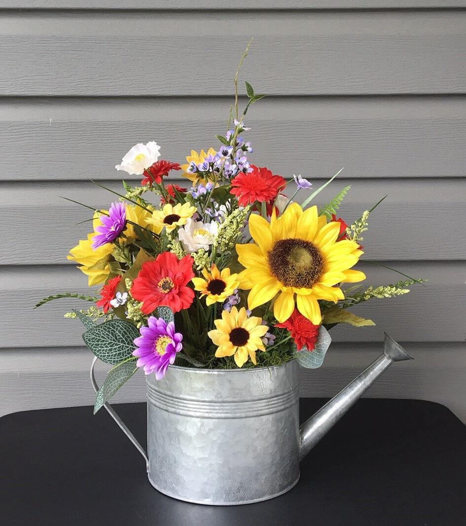 Sunflower Farmhouse Watering Can Arrangement