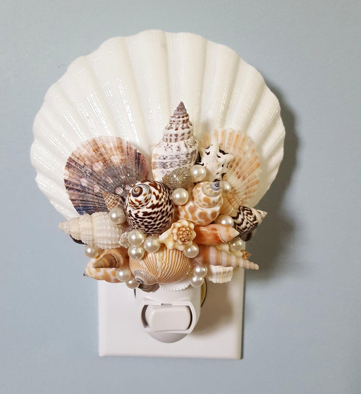 DIY Beaded Seashell Night Light