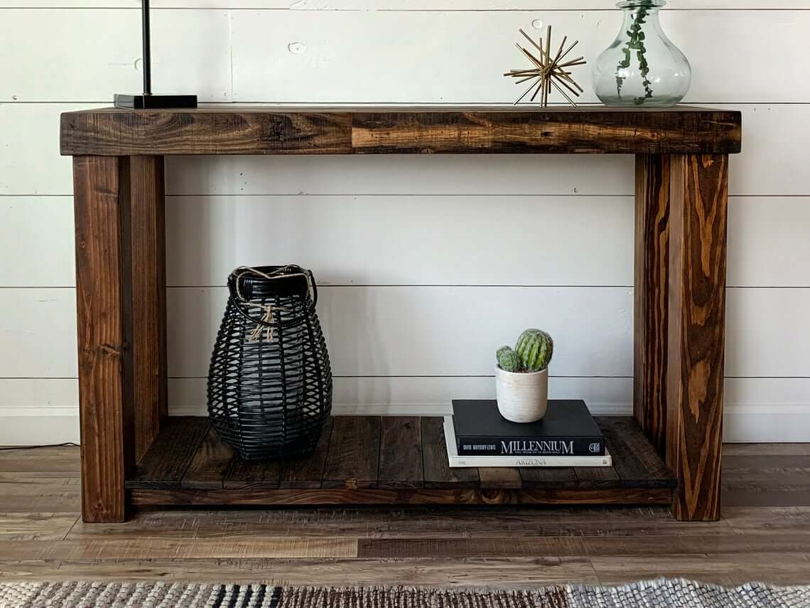 Awesome Double Shelf Wooden Console Table
