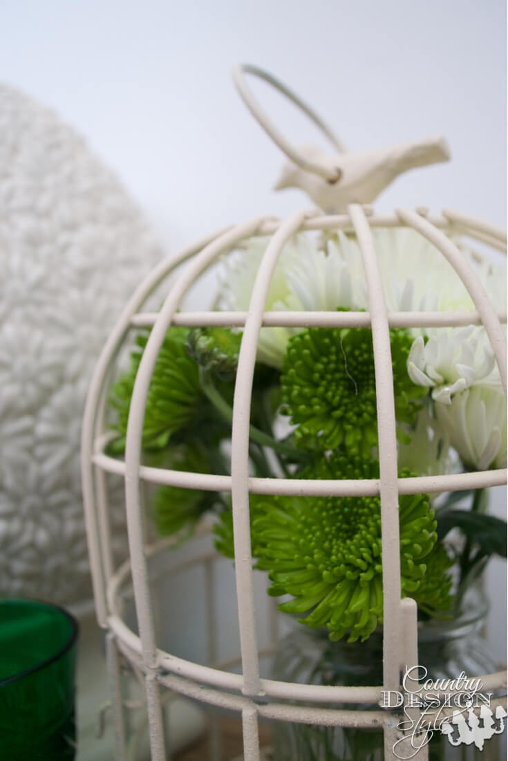 White Simplicity Bird Adorned Birdcage Decoration