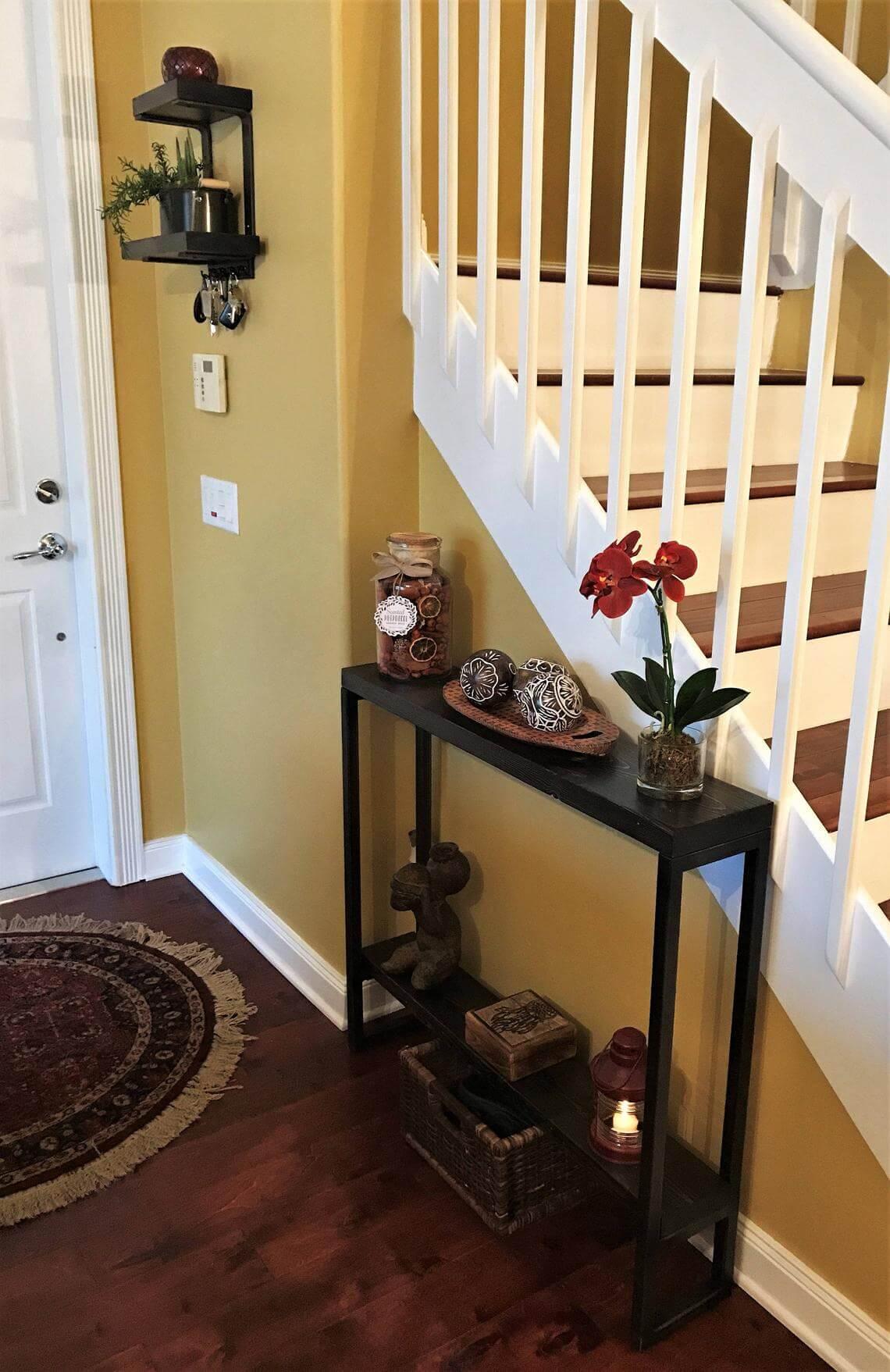 Slim Entry Way Table with Bottom Shelf
