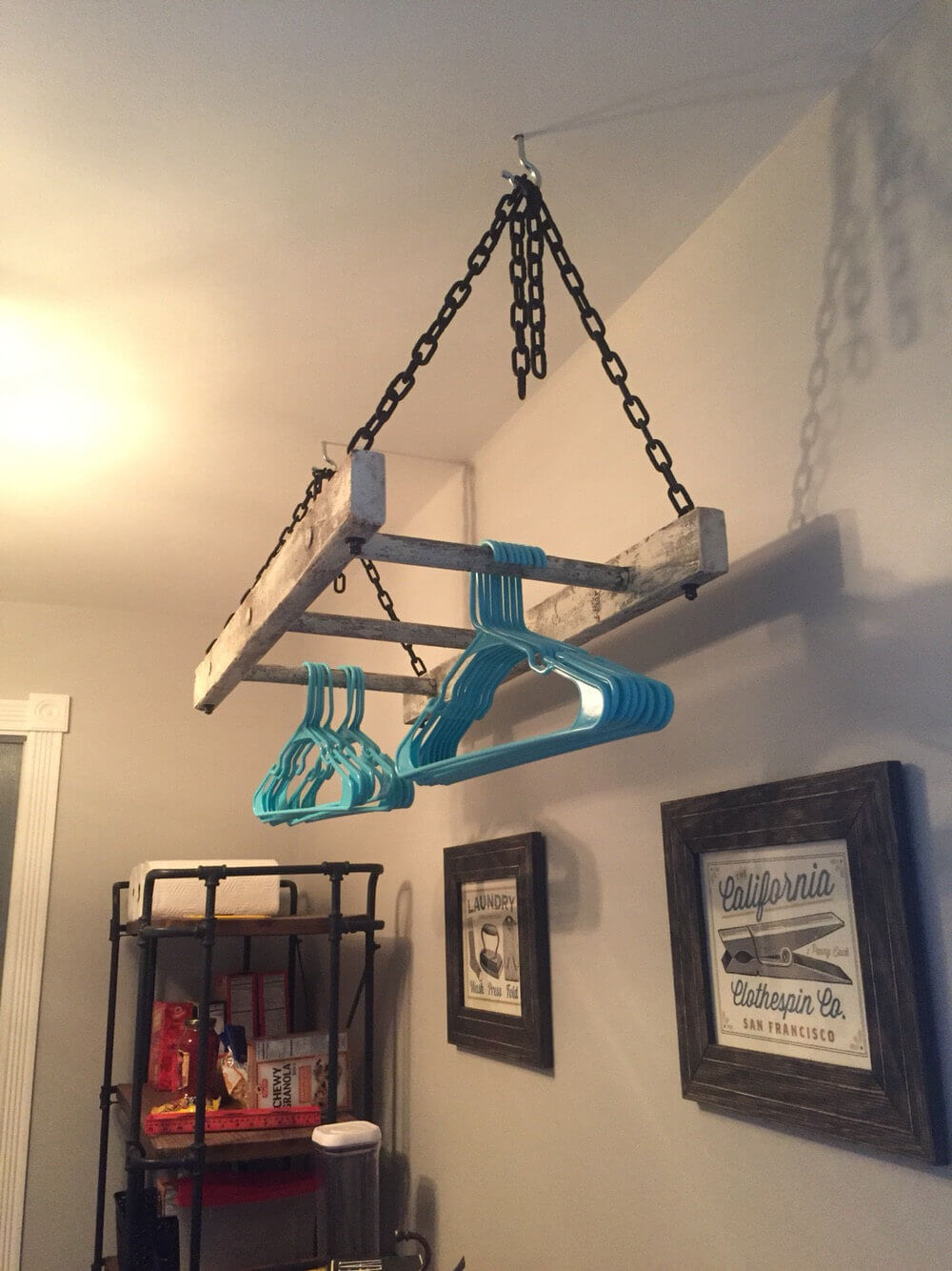 Vintage Laundry Room Ladder Rack