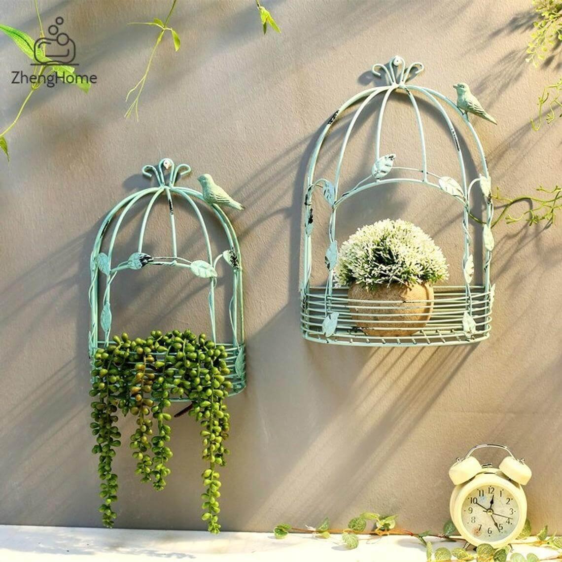Vintage Birdcage Wall Art Plant Holders