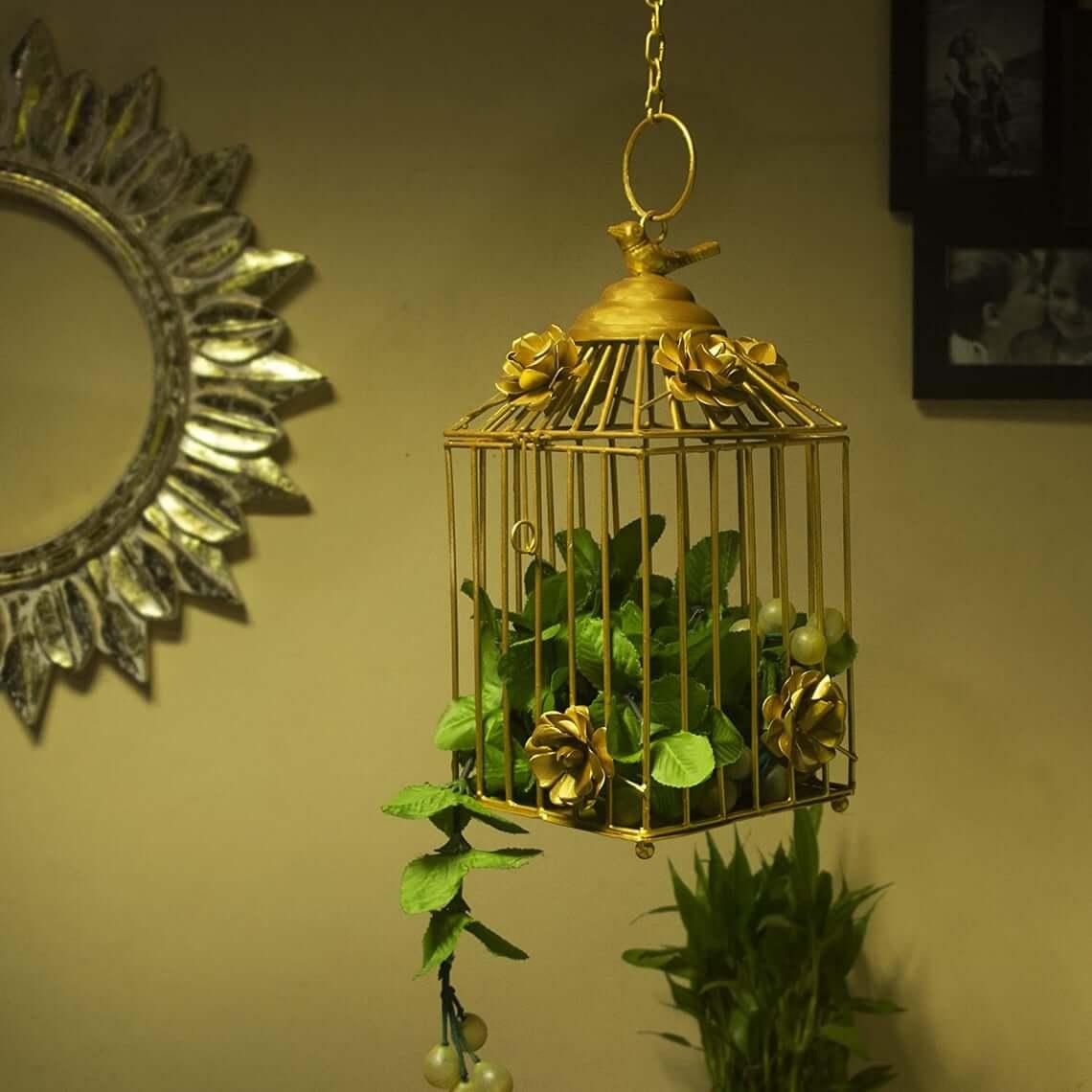 Indoor Golden Pendant Birdcage Plant Decoration